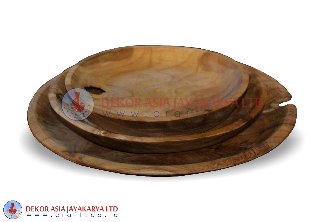 PLATE SET OF 3 - WOOD BOWLS