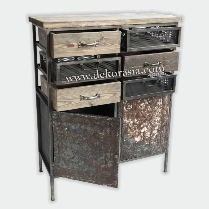 Cabinet 2 Doors and 6 Drawers | Industrial Furniture | Iron Furniture